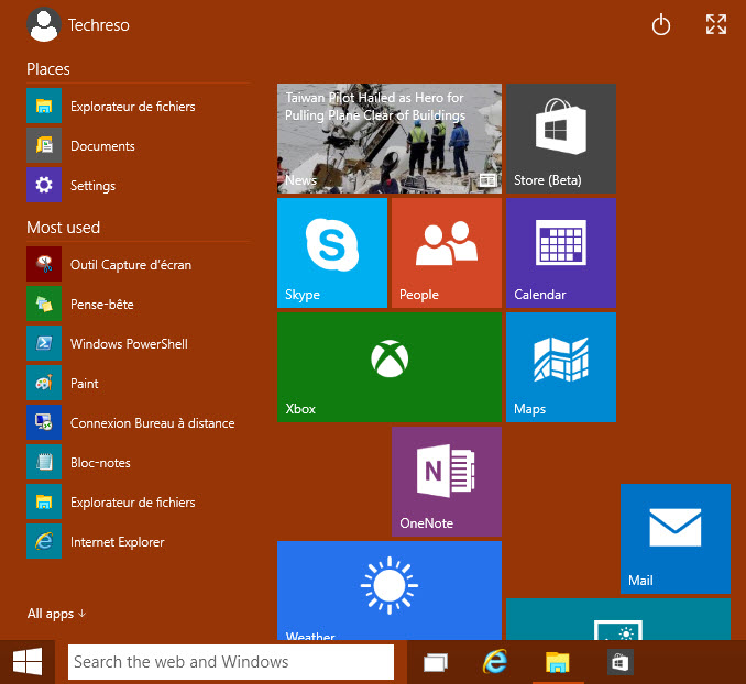 Menu démarrer windows 10 - TechReso.com